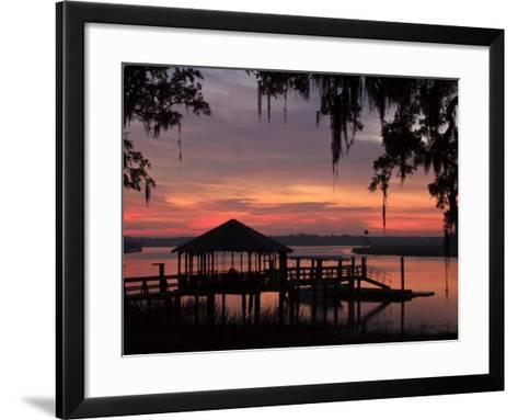 Dock at Sunrise Along the Intracoastal Waterway, Savannah, Georgia, USA-Joanne Wells-Framed Art Print