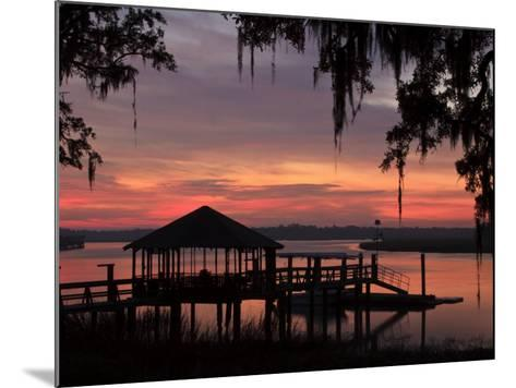 Dock at Sunrise Along the Intracoastal Waterway, Savannah, Georgia, USA-Joanne Wells-Mounted Photographic Print
