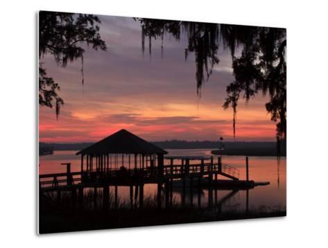 Dock at Sunrise Along the Intracoastal Waterway, Savannah, Georgia, USA-Joanne Wells-Metal Print