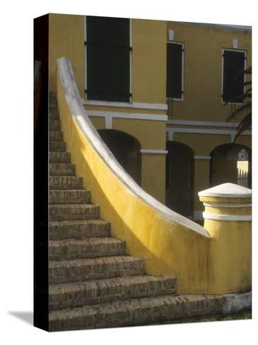Customs House Exterior Stairway, Christiansted, St. Croix, US Virgin Islands-Alison Jones-Stretched Canvas Print