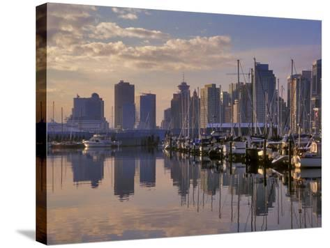 Vancouver Skyline With Boats in Harbor at Sunrise Seen From Stanley Park, British Columbia, Canada-Janis Miglavs-Stretched Canvas Print