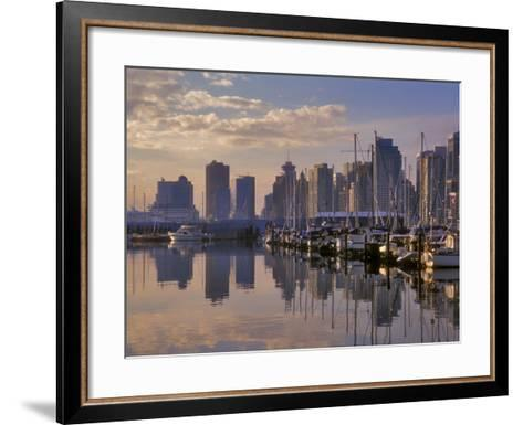 Vancouver Skyline With Boats in Harbor at Sunrise Seen From Stanley Park, British Columbia, Canada-Janis Miglavs-Framed Art Print