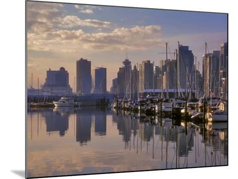 Vancouver Skyline With Boats in Harbor at Sunrise Seen From Stanley Park, British Columbia, Canada-Janis Miglavs-Mounted Photographic Print
