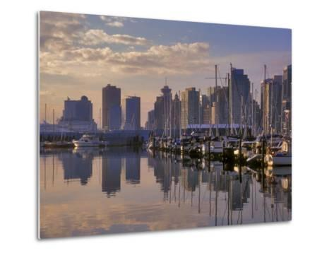 Vancouver Skyline With Boats in Harbor at Sunrise Seen From Stanley Park, British Columbia, Canada-Janis Miglavs-Metal Print