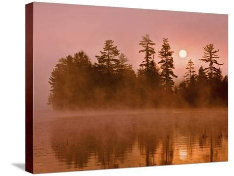 Sunrise on a Lake, Adirondack Park, New York, USA-Jay O'brien-Stretched Canvas Print