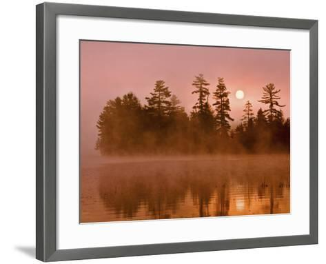 Sunrise on a Lake, Adirondack Park, New York, USA-Jay O'brien-Framed Art Print