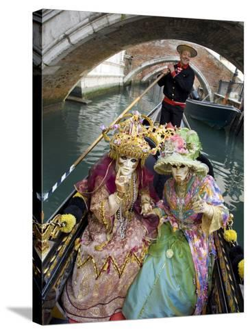 Couple at the Annual Carnival Festival Enjoy Gondola Ride, Venice, Italy-Jim Zuckerman-Stretched Canvas Print
