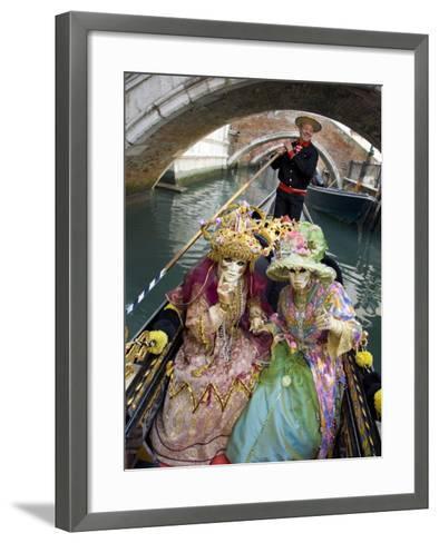 Couple at the Annual Carnival Festival Enjoy Gondola Ride, Venice, Italy-Jim Zuckerman-Framed Art Print