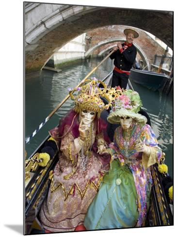 Couple at the Annual Carnival Festival Enjoy Gondola Ride, Venice, Italy-Jim Zuckerman-Mounted Photographic Print