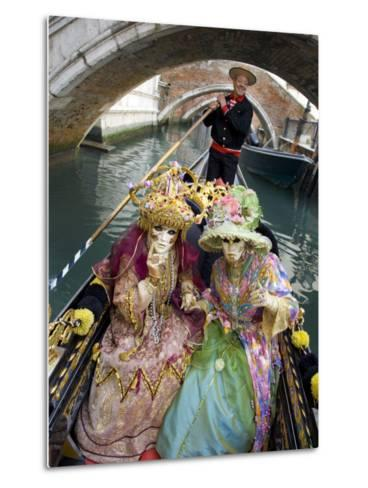Couple at the Annual Carnival Festival Enjoy Gondola Ride, Venice, Italy-Jim Zuckerman-Metal Print