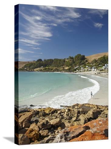 Boat Harbour Beach and Orange Lichen on Rocks, North Western Tasmania, Australia-David Wall-Stretched Canvas Print