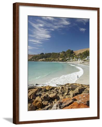 Boat Harbour Beach and Orange Lichen on Rocks, North Western Tasmania, Australia-David Wall-Framed Art Print