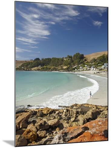 Boat Harbour Beach and Orange Lichen on Rocks, North Western Tasmania, Australia-David Wall-Mounted Photographic Print