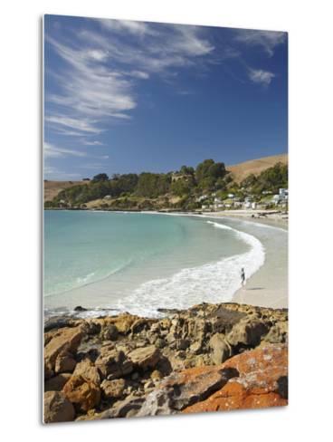 Boat Harbour Beach and Orange Lichen on Rocks, North Western Tasmania, Australia-David Wall-Metal Print