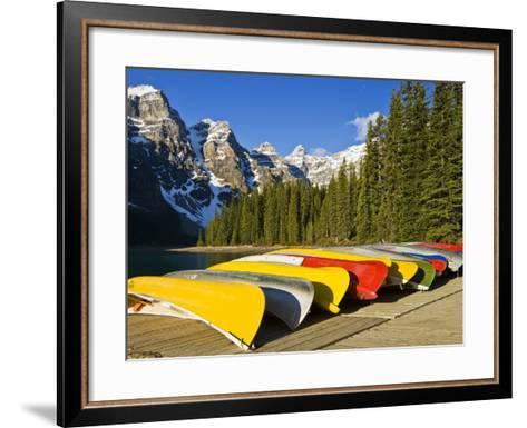 Moraine Lake and Rental Canoes Stacked, Banff National Park, Alberta, Canada-Larry Ditto-Framed Art Print
