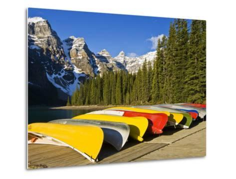 Moraine Lake and Rental Canoes Stacked, Banff National Park, Alberta, Canada-Larry Ditto-Metal Print
