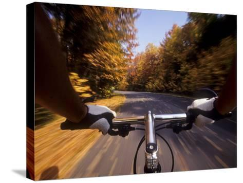Detail of Cyclist View while Riding on the Roads--Stretched Canvas Print