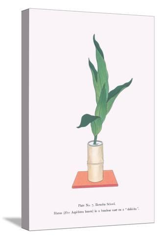 Haran (Five Aspidistra Leaves) In Bamboo Vase-Josiah Conder-Stretched Canvas Print