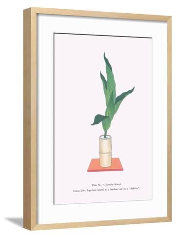 Haran (Five Aspidistra Leaves) In Bamboo Vase-Josiah Conder-Framed Art Print