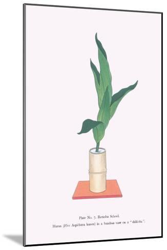 Haran (Five Aspidistra Leaves) In Bamboo Vase-Josiah Conder-Mounted Art Print