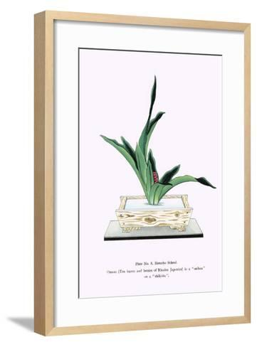 Omoto (Ten Leaves & Berries of Rhodea Japonica) In a Suiban-Josiah Conder-Framed Art Print