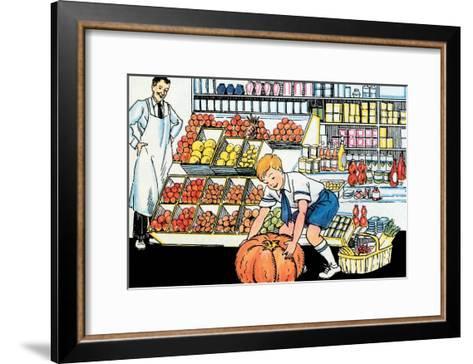 Selecting a Pumpkin-Julia Letheld Hahn-Framed Art Print