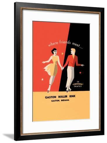 """Where Friends Meet… on """"Chicago"""" Skates--Framed Art Print"""