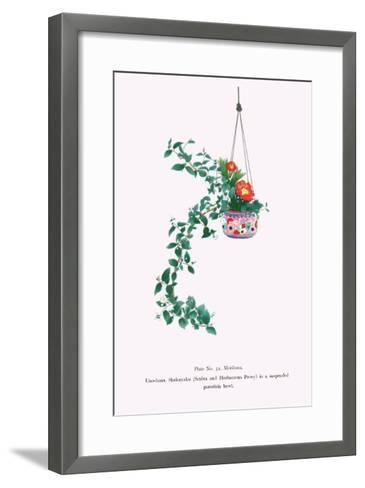 Uno-Hana And Shakuyaku (Scabra & Herbaceous Peony) In a Suspended Porcelain Bowl-Josiah Conder-Framed Art Print