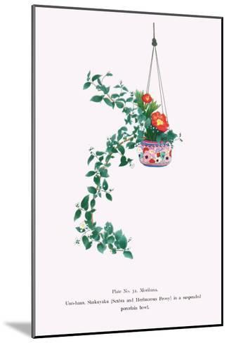 Uno-Hana And Shakuyaku (Scabra & Herbaceous Peony) In a Suspended Porcelain Bowl-Josiah Conder-Mounted Art Print