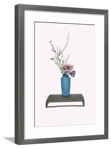 Une And Habotan (Plum & Variegated Cabbage) In a Tsubo-Josiah Conder-Framed Art Print