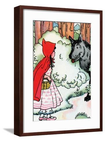 Little Red Riding Hood Meets the Wolf-Julia Letheld Hahn-Framed Art Print