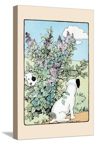 Snip And Snap Play In the Lilac Bushes-Julia Dyar Hardy-Stretched Canvas Print