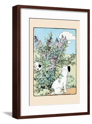 Snip And Snap Play In the Lilac Bushes-Julia Dyar Hardy-Framed Art Print