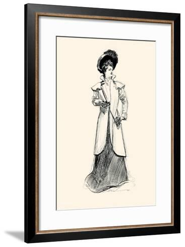 Lady With Binoculars-Charles Dana Gibson-Framed Art Print