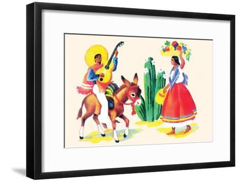 Burro Rider Serenades La Senorita--Framed Art Print