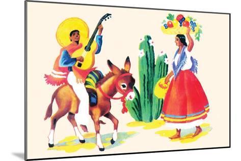 Burro Rider Serenades La Senorita--Mounted Art Print