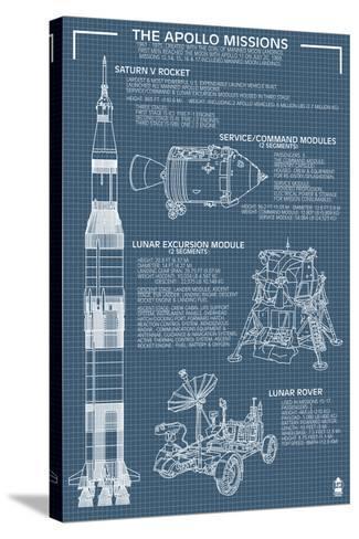 Apollo Missions - Blueprint Poster-Lantern Press-Stretched Canvas Print