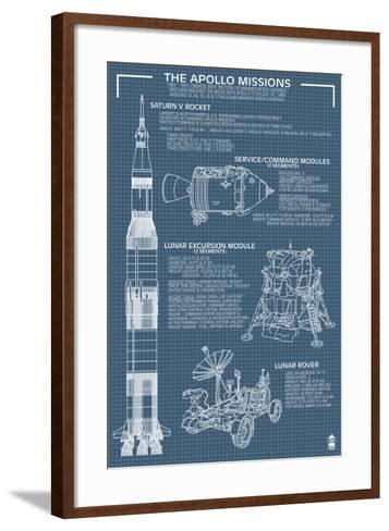 Apollo Missions - Blueprint Poster-Lantern Press-Framed Art Print
