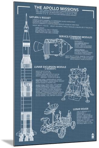 Apollo Missions - Blueprint Poster-Lantern Press-Mounted Art Print