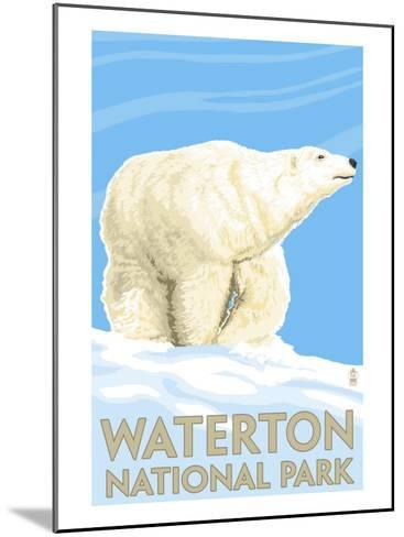 Waterton National Park, Canada - Polar Bear-Lantern Press-Mounted Art Print