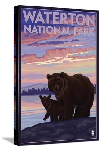 Waterton National Park, Canada - Bear & Cub-Lantern Press-Stretched Canvas Print