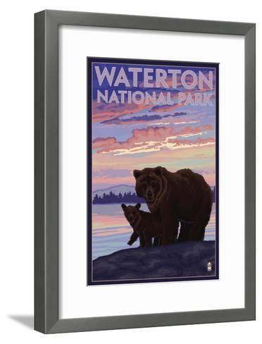 Waterton National Park, Canada - Bear & Cub-Lantern Press-Framed Art Print