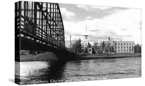 Fairbanks, Alaska - Catholic Church and Hospital-Lantern Press-Stretched Canvas Print