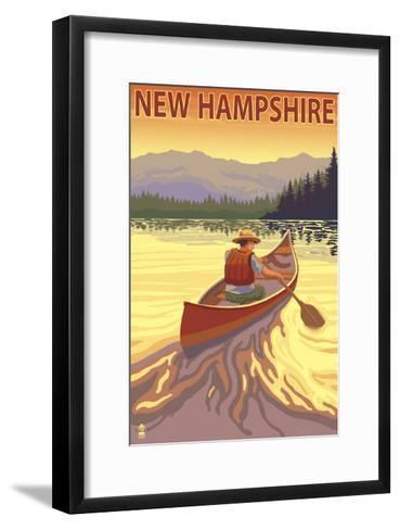 New Hampshire - Canoe Scene-Lantern Press-Framed Art Print