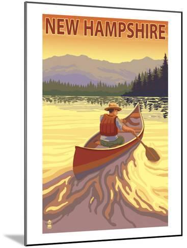 New Hampshire - Canoe Scene-Lantern Press-Mounted Art Print