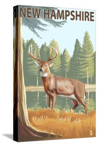 New Hampshire - White-Tailed Deer-Lantern Press-Stretched Canvas Print