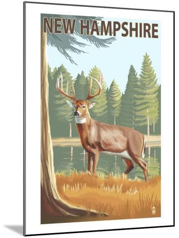 New Hampshire - White-Tailed Deer-Lantern Press-Mounted Art Print