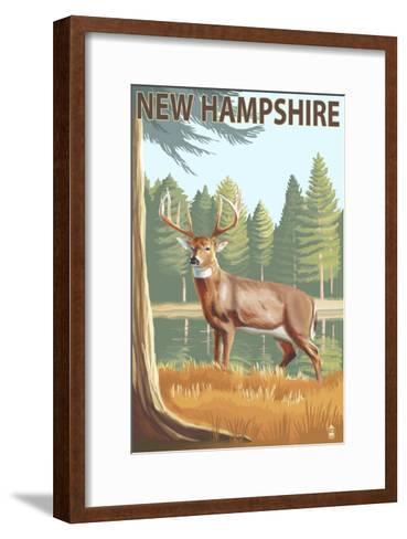 New Hampshire - White-Tailed Deer-Lantern Press-Framed Art Print