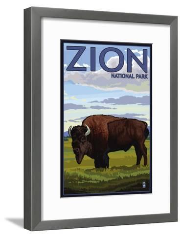 Zion National Park, UT - Bison-Lantern Press-Framed Art Print