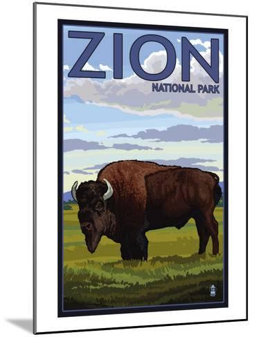 Zion National Park, UT - Bison-Lantern Press-Mounted Art Print